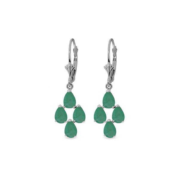 Genuine 4.5 ctw Emerald Earrings 14KT White Gold - REF-63F8Z