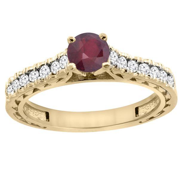 0.90 CTW Ruby & Diamond Ring 14K Yellow Gold - REF-62A7X