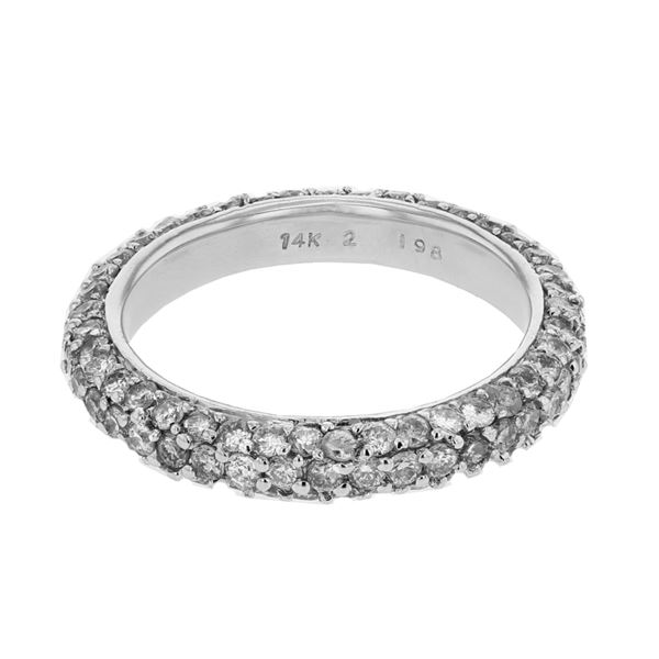 Natural 1.98 CTW Diamond Band Ring 14K White Gold - REF-126X2T
