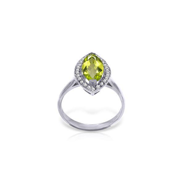 Genuine 2.15 ctw Peridot & Diamond Ring 14KT White Gold - REF-71F3Z