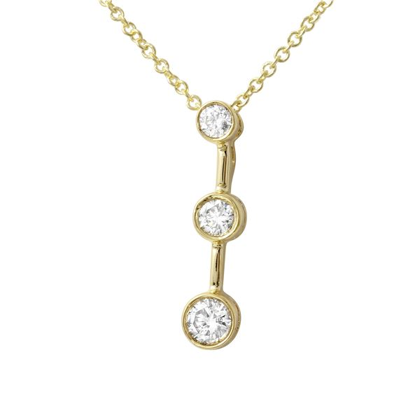 Natural 0.25 CTW Diamond Necklace 14K Yellow Gold - REF-36M2F