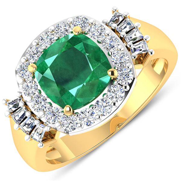 Natural 2.73 CTW Zambian Emerald & Diamond Ring 14K Yellow Gold - REF-125H3M