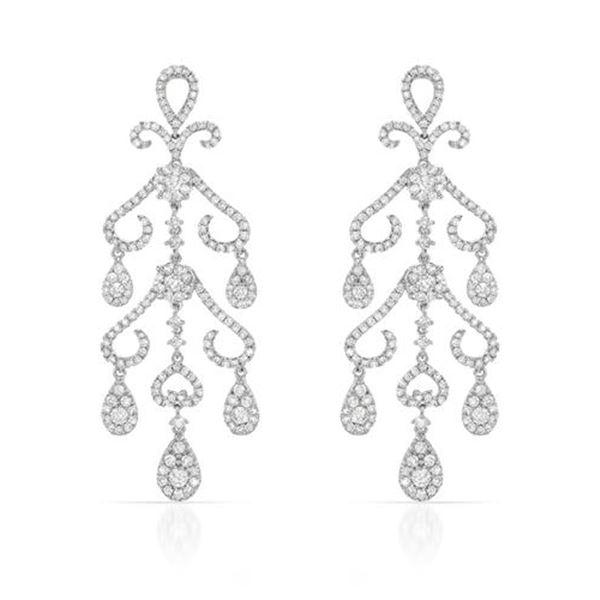 Natural 3.63 CTW Diamond Earrings 14K White Gold - REF-462M6F