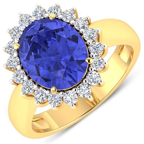 Natural 4.29 CTW Tanzanite & Diamond Ring 14K Yellow Gold - REF-145T3H