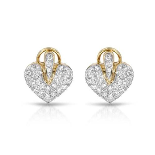 Natural 0.96 CTW Diamond Earrings 18K Yellow Gold - REF-121R5K