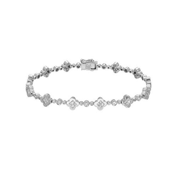 Natural 1.35 CTW Princess Diamond Bracelet 14K White Gold - REF-183M6F