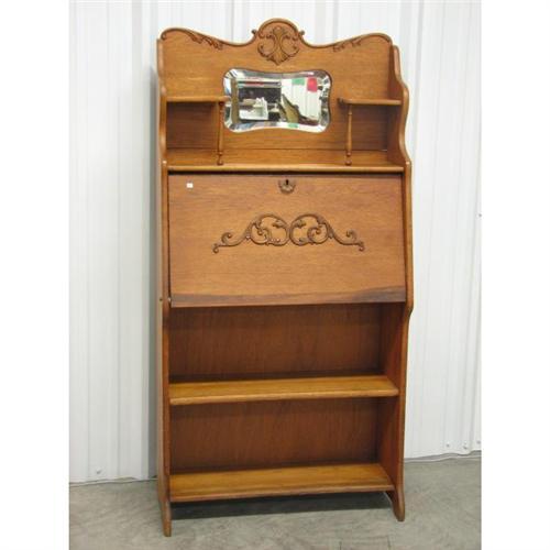 Golden Oak Secretary Bookshelf Early 20thc