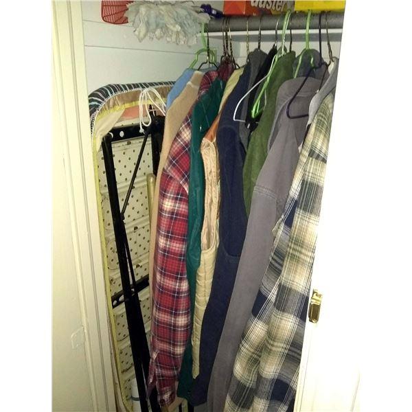Closet Lot: Ironing Board, Brooms, Men's Shirts
