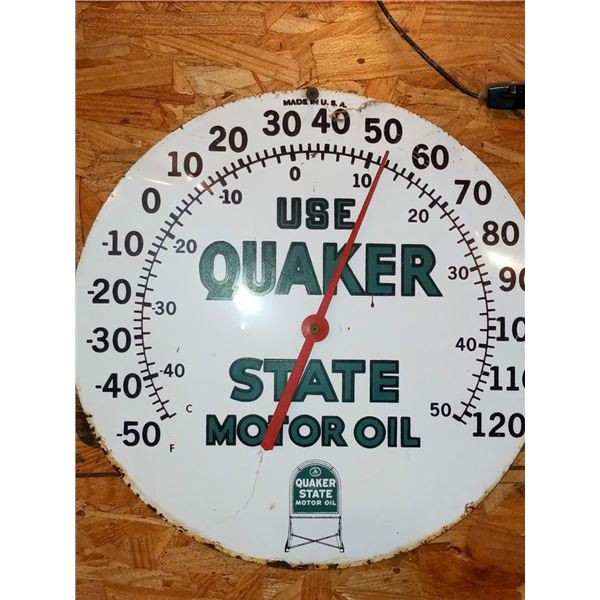 """12"""" ANTIQUE PORCELAIN METAL QUAKER STATE OIL THERMOMETER"""