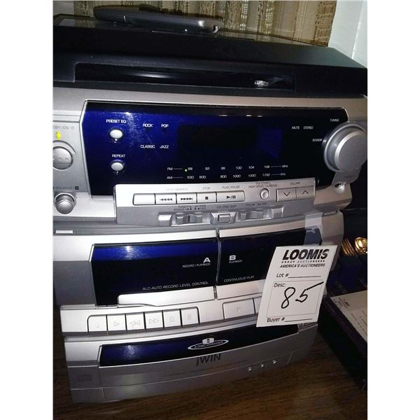 jWIN Stereo, w/ 3 Disc CD Changer, Turntable, Dual Cassette Deck, Remote