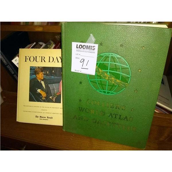 BUNDLE LOT: Death of JFK Historical Record, World Atlas, Tabletop Lamp, Globe, Desk Organizer, Press