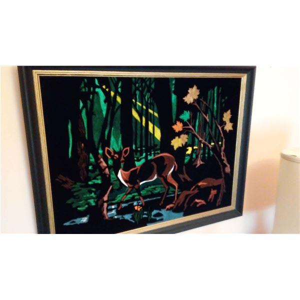 Vintage Velvet Framed Deer Print
