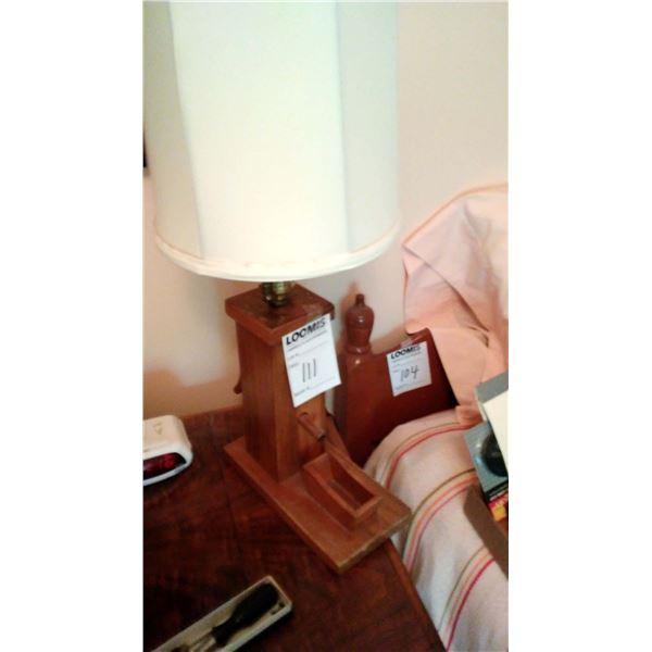 Vintage Wooden Water Pump Lamp
