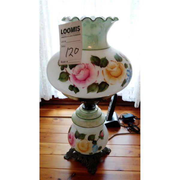 Vintage Glass Handpainted Hurricane Lamp