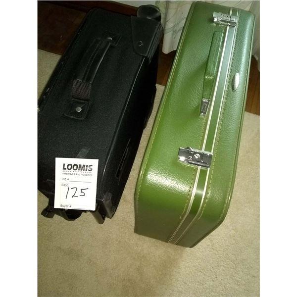 BUNDLE LOT: Pair of Vintage Suitcases, Porcelain Lamp