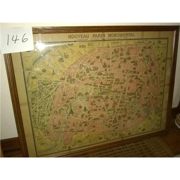 """Vintage Framed Map """"Nouveau Paris Monumental"""""""