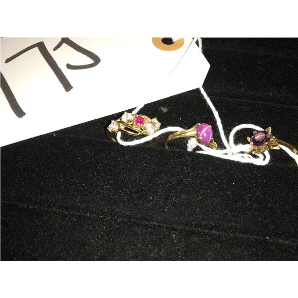 3 Gold Rings Lot (Markings inside not legible.) Precious Stones, approx. 6-7 gms