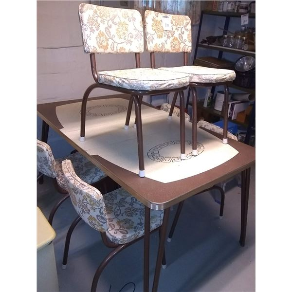 VINTAGE 7 PC CHROME TABLE AND CHAIRS SET W/BOARD