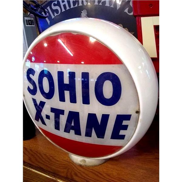 Vintage SOHIO X-TANE Service Pump Globe Top, Glass, Original