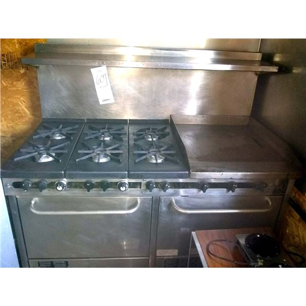 Like New Commercial South Bend Gas Oven, 6 Burners & Flat Griddle, Very Good Condition, AKA LOT 607