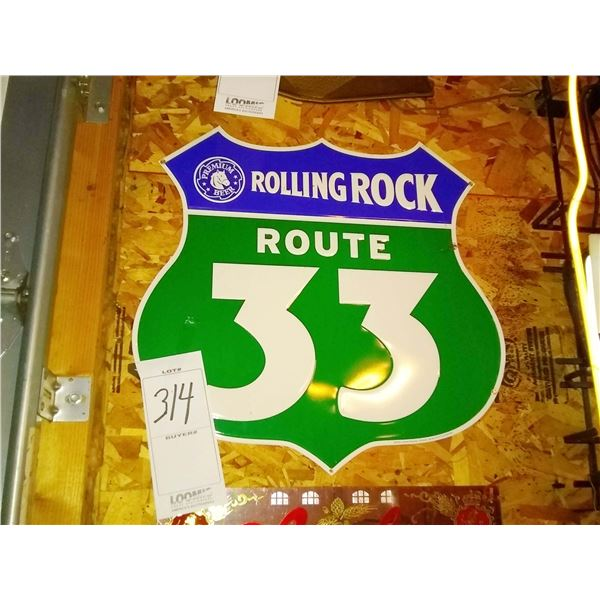 """Rolling Rock """"Route 33"""" Metal Sign, 24"""" x 24"""""""