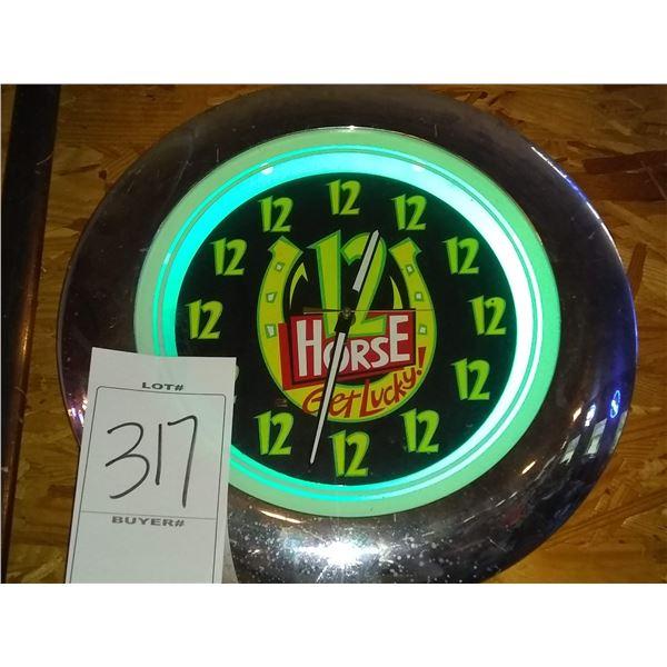 "Lucky Horse Neo Clock, 28"" x 28"""