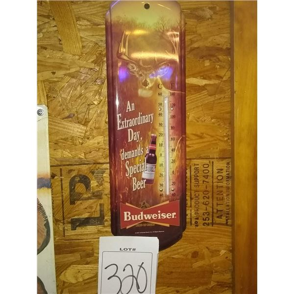 """Budweiser Metal Buck Thermometer, Approx. 20"""""""