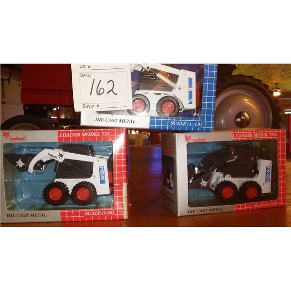 3 Diecast Scale Model Bobcat Loaders 1:19, 1:25, Still in Packaging