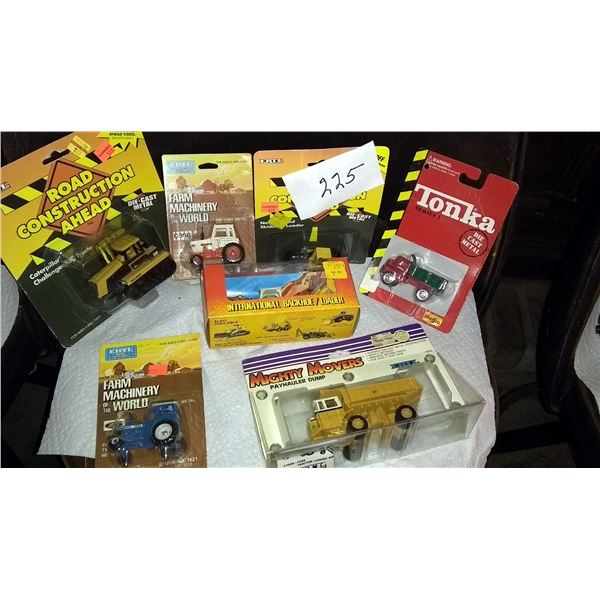Vintage Miniature Diecast Metal Farm and Construction Equipment, Still in Packaging