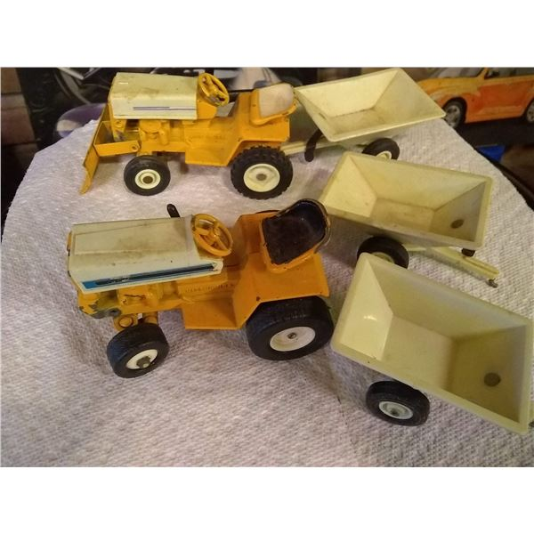Pair or Vintage Toy Cub Cadet Tractors and Trailers 1/16 Scale
