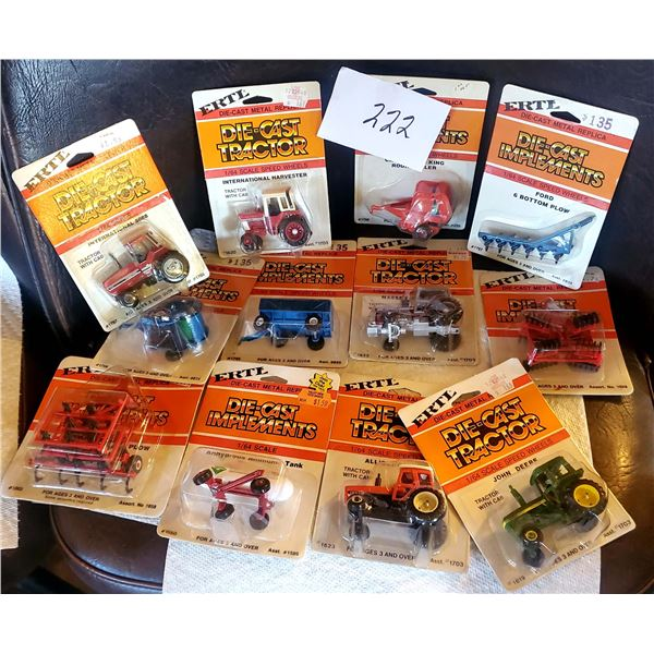 Assortment of ERTL Vintage 1/64 Scale Diecast Tractors, Still in Packaging