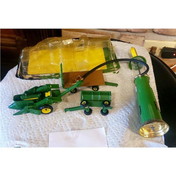Miniature John Deere Gas Pump, Corn Picker, and Wagon