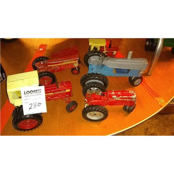5 Vintage Diecast Metal Toy Farm Tractors