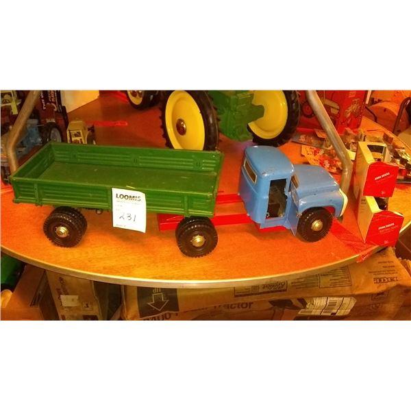 Vintage METAL Semi Truck w/ Dual Wheel Farm Trailer