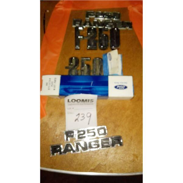 Vintage Ford F250 Ranger Model #s Emblems