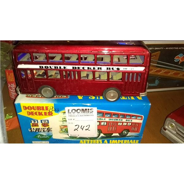 Vintage Tin Double Decker Friction Toy Bus, w/ Original Packaging
