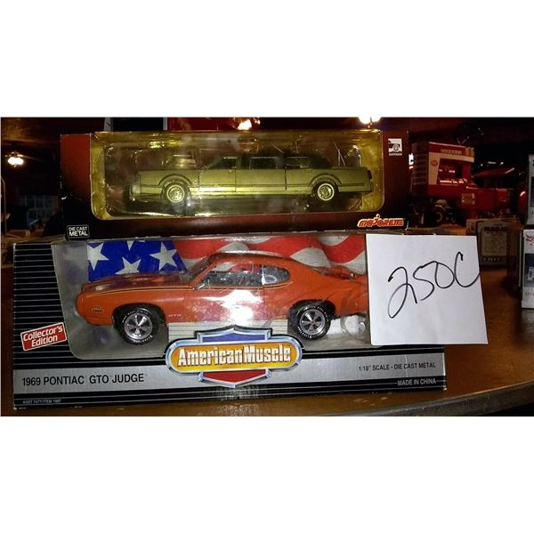 "American Muscle Pontiac GTO Judge 1/18"" Scale Diecast Metal and Majorette Diecast Metal Limousine Bo"