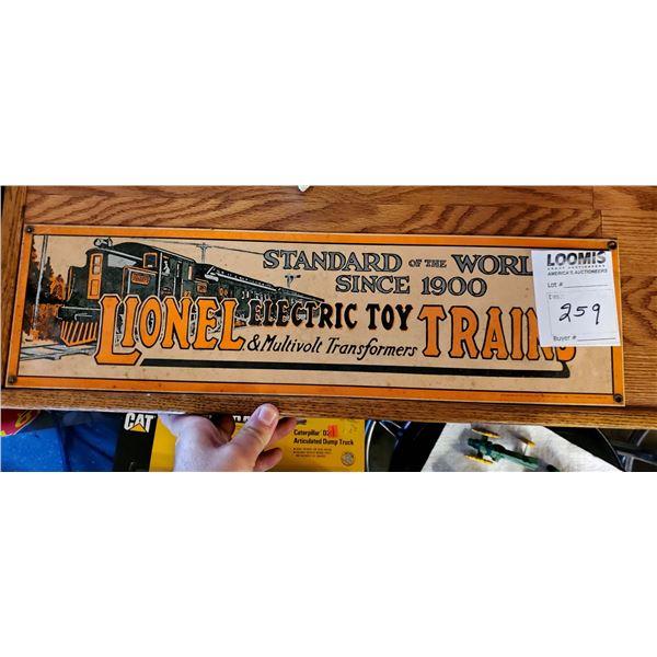 "Lionel Electric Trains/Transformer Toys Vintage Porcelain Advertising Sign,1986 - 22"" x 6"""