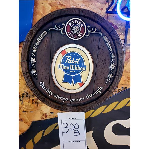 "Pabst Blue Ribbon Vintage Resin Barrel Sign, 16"" Dia."