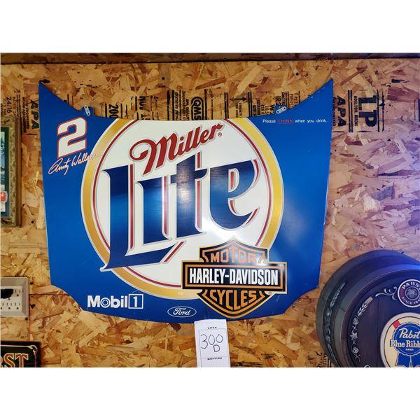 "Miller Lite / Harley Davidson Tin Nascar Racing Hood, 29"" x 34.5"""