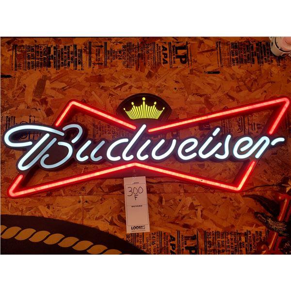 "Budweiser Bowtie Lighted ""Neon"" Sign, 17"" x 48"""