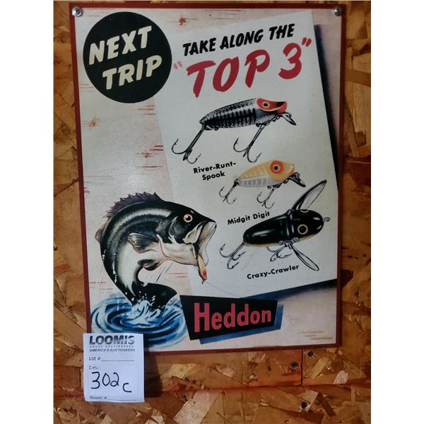 "Heddon Fishing Tackle Tin Advertising Sign, 9.5"" x 13"""