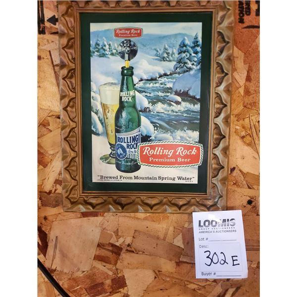 "Vintage Rolling Rock Resin Picture Frame Sign, 10"" x 13"""