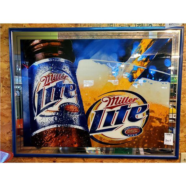 "Miller Lite Framed Mirror Sign, 52"" X 40"""