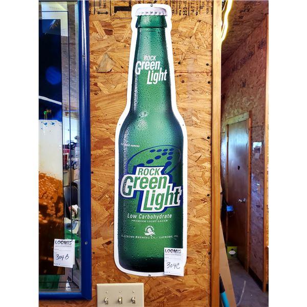 "Rolling Rock Green Light Tin Bottle Sign, 36"""