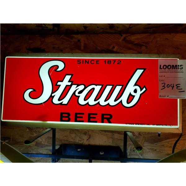 "Vintage Straub Bear Resin Light Up Sign, 19"" x 9"""