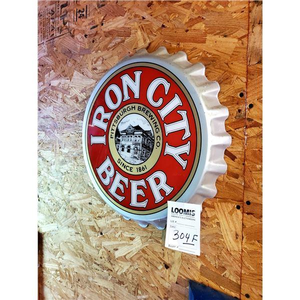 "Iron City Beer Bottle Cap Sign, 18"" Dia."