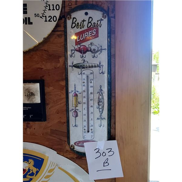 """Vintage Best Bait Lures Tin Thermometer, 18"""" x 5"""""""
