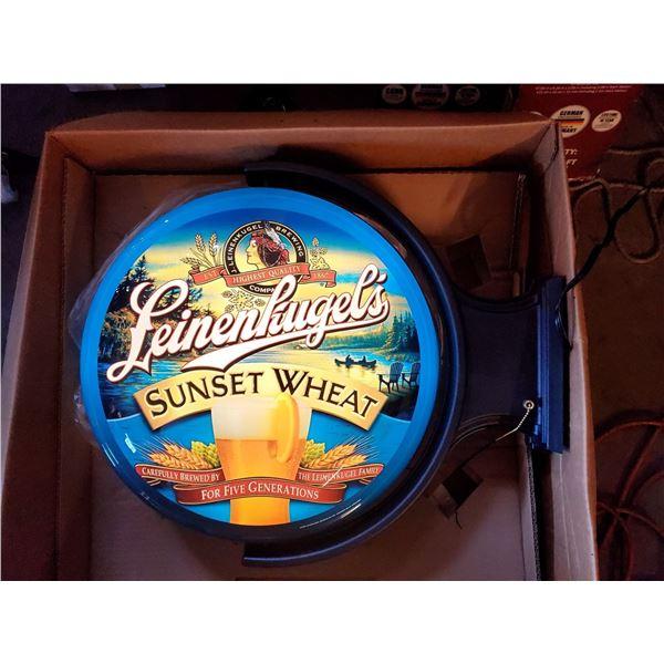 """Brand New Leinenkugel's Sunset Wheat Beer 2 Sided Light, Still in Box, 20"""" x 23"""""""