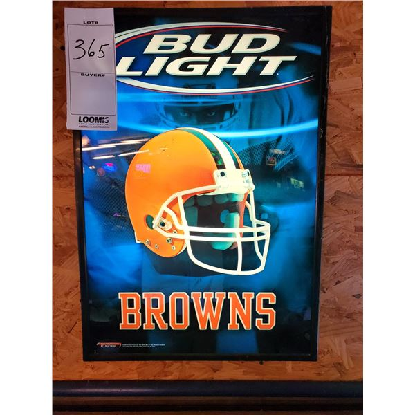 "Bud Light Cleveland Browns Light Up Sign, 19"" x 27"""